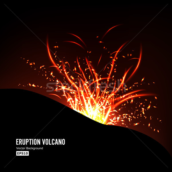 Eruption Volcano Vector. Thunderstorm Sparks. Big And Heavy Explosion From The Mountain. Spewing Glo Stock photo © pikepicture