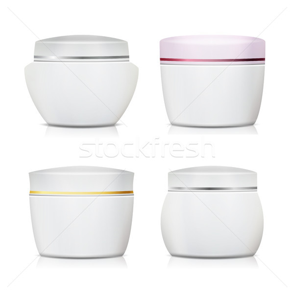 Cream Container Vector Set. Plastic Jar For Cosmetics Design. Face Cream Containers. Isolated On Whi Stock photo © pikepicture