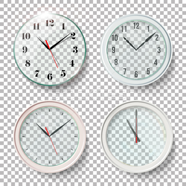 Realistic Wall Clocks Set Vector Illustration. Transparent Face. One Clock For Every Hour. Black Han Stock photo © pikepicture