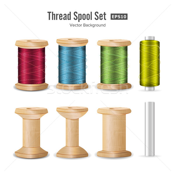 Thread Spool Set. Bright Plastic And Wooden Bobbin. Isolated On White Background For Needlework And  Stock photo © pikepicture