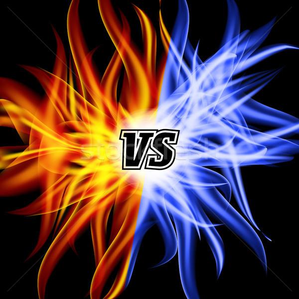 Vektör vs harfler alev kavga dizayn Stok fotoğraf © pikepicture
