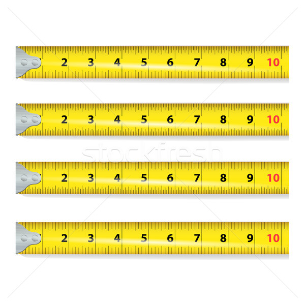 Yellow Measure Tape Vector. Centimeter And Inch. Measure Tool Equipment Illustration Isolated On Whi Stock photo © pikepicture