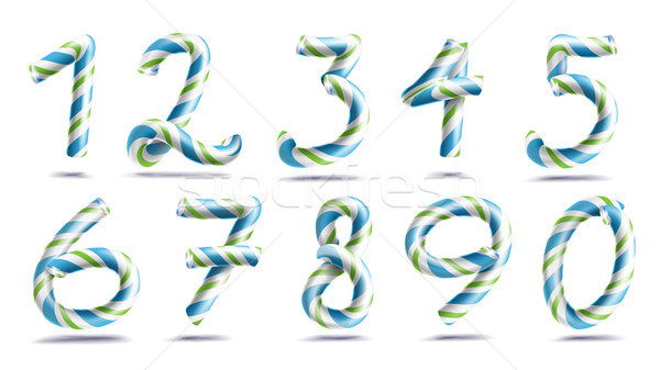 Numbers Sign Set Vector. 3D Numerals. Figures 1, 2, 3, 4, 5, 6, 7, 8, 9, 0. Christmas Colours. Blue, Stock photo © pikepicture