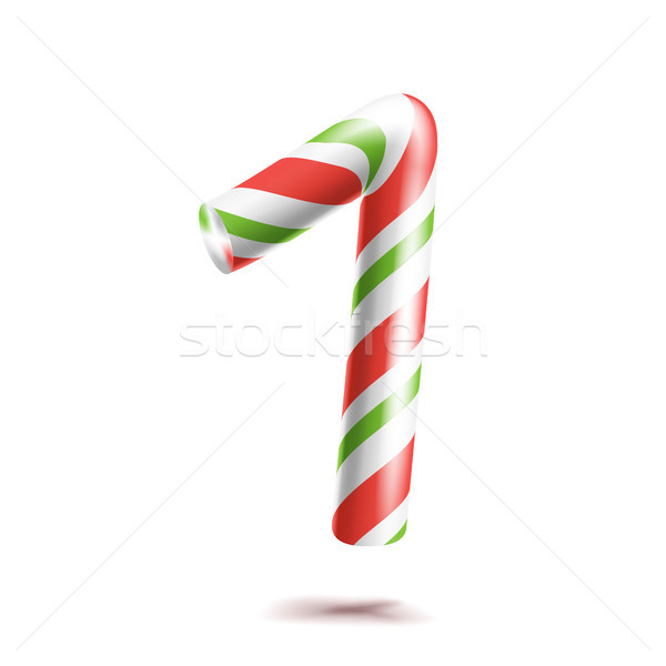 1, Number One Vector. 3D Number Sign. Figure 1 In Christmas Colours. Red, White, Green Striped. Clas Stock photo © pikepicture