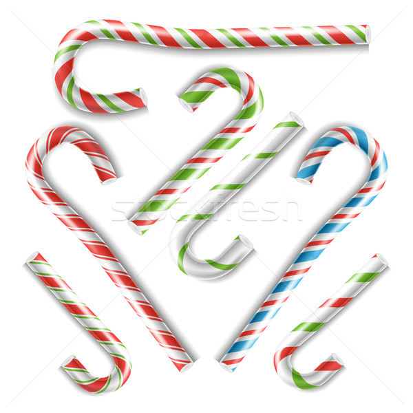 Classic Xmas Candy Cane Vector. Isolated On White Illustration Stock photo © pikepicture