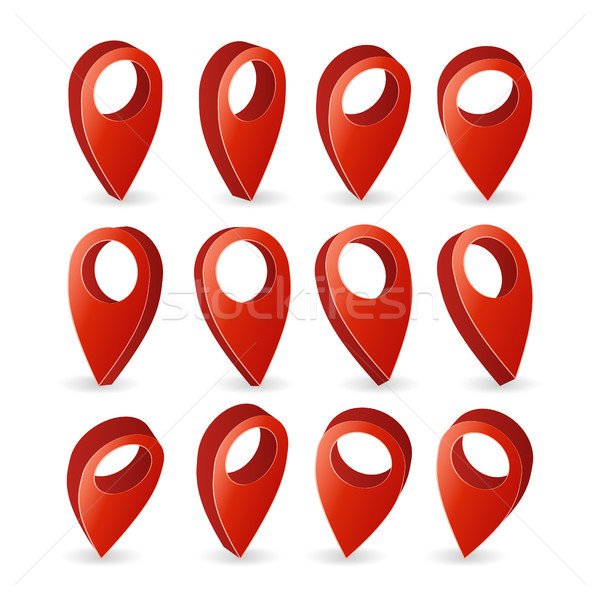 3D harita vektör ayarlamak kırmızı simge Stok fotoğraf © pikepicture