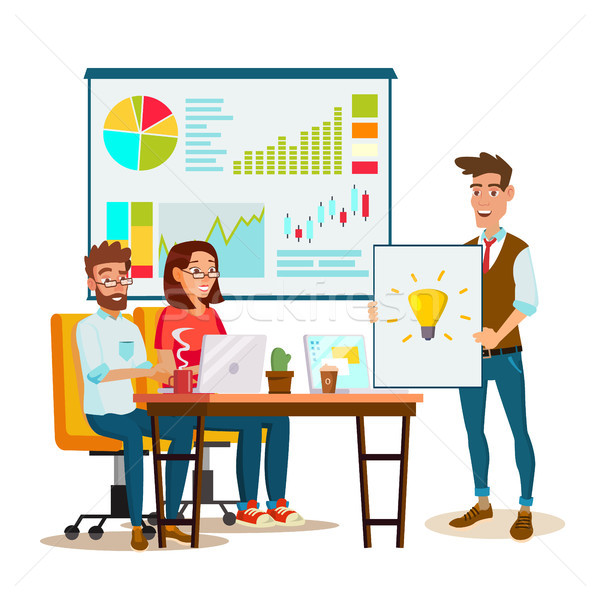 Stock photo: Brainstorming Process Vector. Teamwork Staff Around Table. Creative Team Idea. Group Of Businessmen