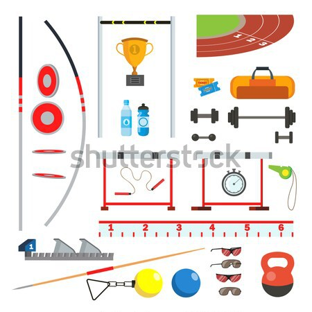 Stock photo: Boxing Equipment Tools Set Vector. Box Accessories. Boxer, Ring, Belt, Punch Bags, Red Gloves, Helme