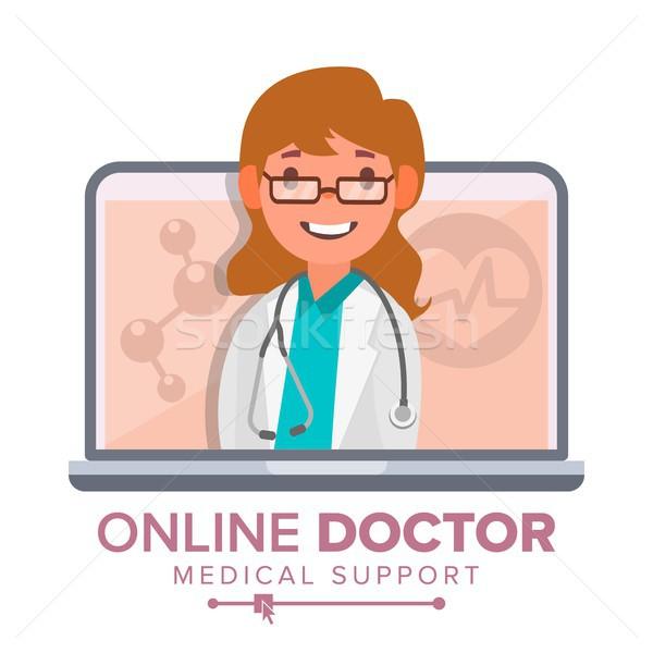Online arts vrouw vector medische overleg Stockfoto © pikepicture