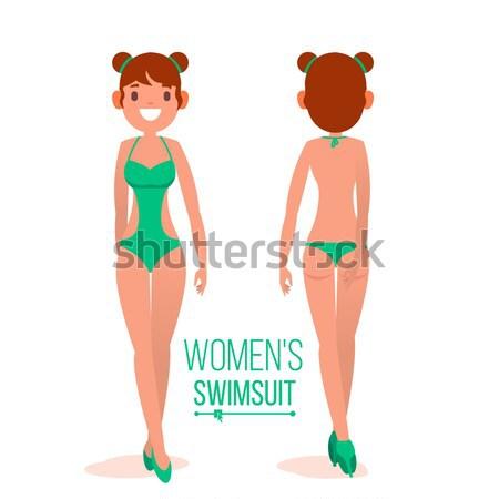 Women s Swimsuit Vector. Female Stylish Swimwear Silhouettes. Isolated Flat Illustration Stock photo © pikepicture