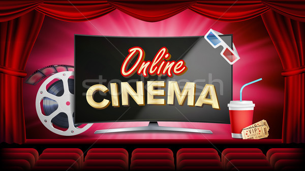 Online Cinema Vector. Banner With Computer Monitor. Red Curtain. Theater, 3D Glasses, Film-strip Cin Stock photo © pikepicture
