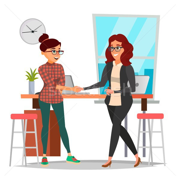 Business Partnership Concept Vector. Two Business Woman. Firmly Shaking Hands. Agreement Sign. Isola Stock photo © pikepicture