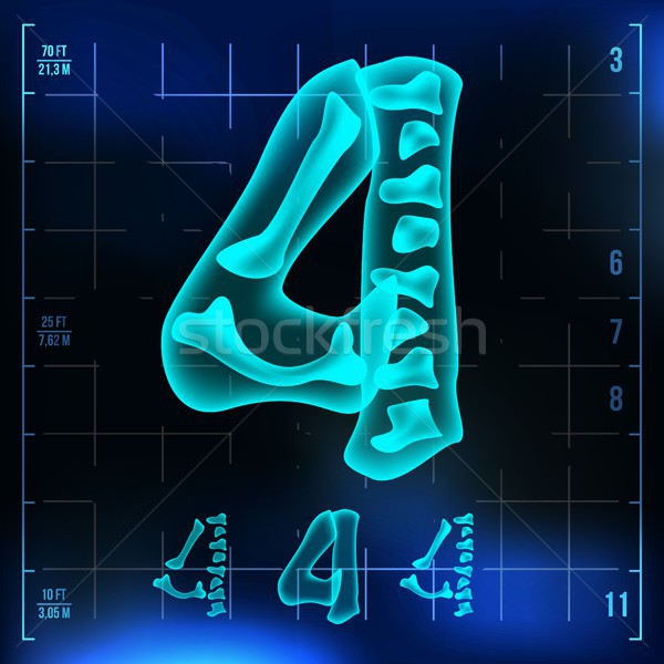 4 Number Vector. Four Roentgen X-ray Font Light Sign. Medical Radiology Neon Scan Effect. Alphabet.  Stock photo © pikepicture