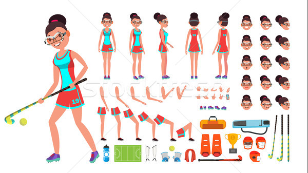 Field Hockey Player Female Vector. Animated Character Creation Set. Full Length, Front, Side, Back V Stock photo © pikepicture
