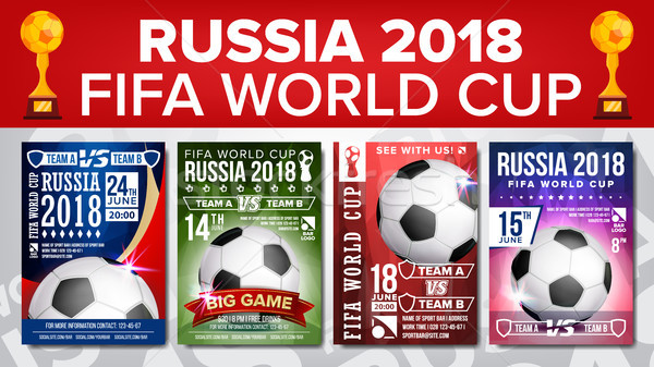 2018 FIFA World Cup Poster Set Vector. Championship Russia 2018. Design For Sport Bar Promotion. Foo Stock photo © pikepicture