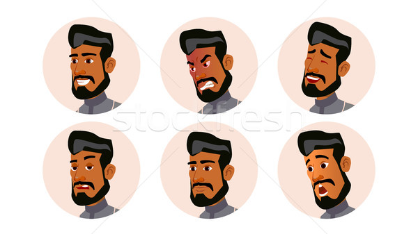 Arab Man Avatar People Vector. Ghutra. Islamic. Icon Placeholder. Person Shilouette. Various Emotion Stock photo © pikepicture