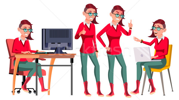 Office Worker Vector. Woman. Happy Clerk, Servant, Employee. Poses. Emo, Freak. Business Woman Perso Stock photo © pikepicture