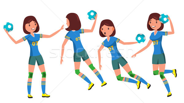 Handball Female Player Vector. Playing In Different Poses. Woman. Attack Jump. Shooting Player. Athl Stock photo © pikepicture