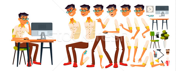 Office Worker Vector. Korean, Thai, Vietnamese. Animation Creation Set. Face Emotions, Various Gestu Stock photo © pikepicture