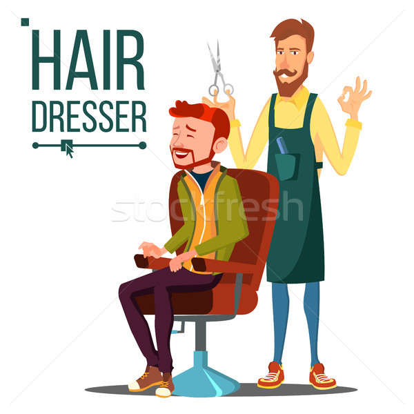 Hairdresser And Man Vector. Barber. Scissors. Stylist Barber. Hairdressers Salon. Hair Clipper. Isol Stock photo © pikepicture
