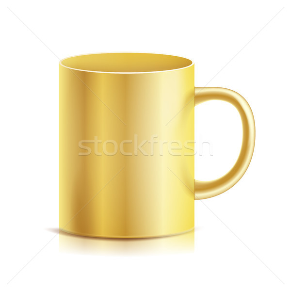 Gold Cup, Mug Vector. 3D Realistic Golden Cup Isolated On White Background. Classic Metal Mug Templa Stock photo © pikepicture
