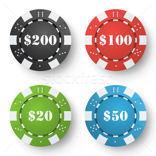 Classic Poker Chips Vector. Colored Poker Game Chips Isolated On White Background. Illustration. Stock photo © pikepicture