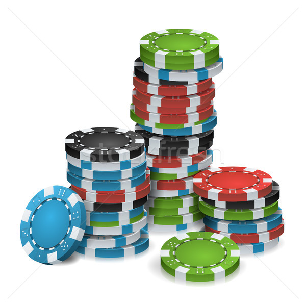Gambling Chips Stacks Vector. 3D Realistic. Poker Game Chips Isolated On White Background For Online Stock photo © pikepicture