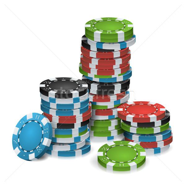 игорный чипов вектора 3D реалистичный покер Сток-фото © pikepicture
