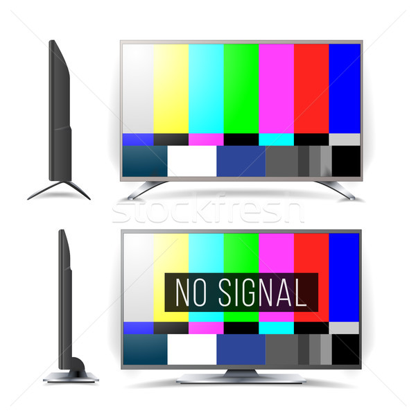 Stock photo: No Signal TV Test Pattern Vector. Lcd Monitor. Flat Screen TV. Television Colored Bars Signal. Analo