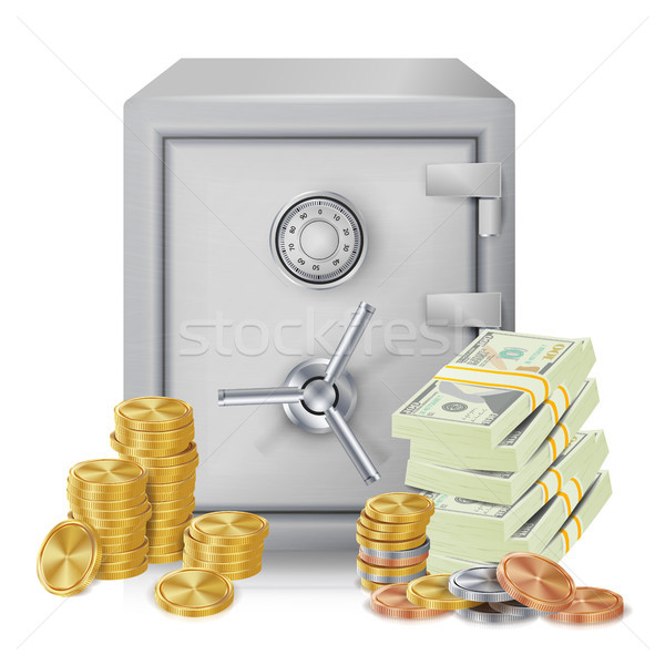 Steel Safe Security Concept Vector. Metal Coins. Vector Isolated Illustration. Investment Concept. Stock photo © pikepicture