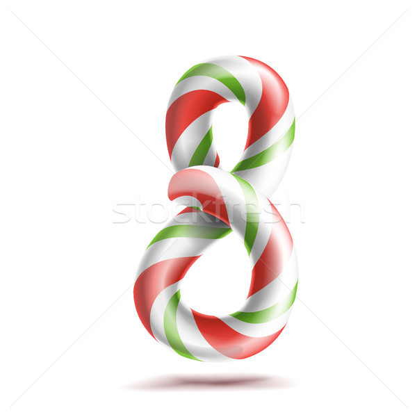 8, Number Eight Vector. 3D Number Sign. Figure 8 In Christmas Colours. Red, White, Green Striped. Cl Stock photo © pikepicture
