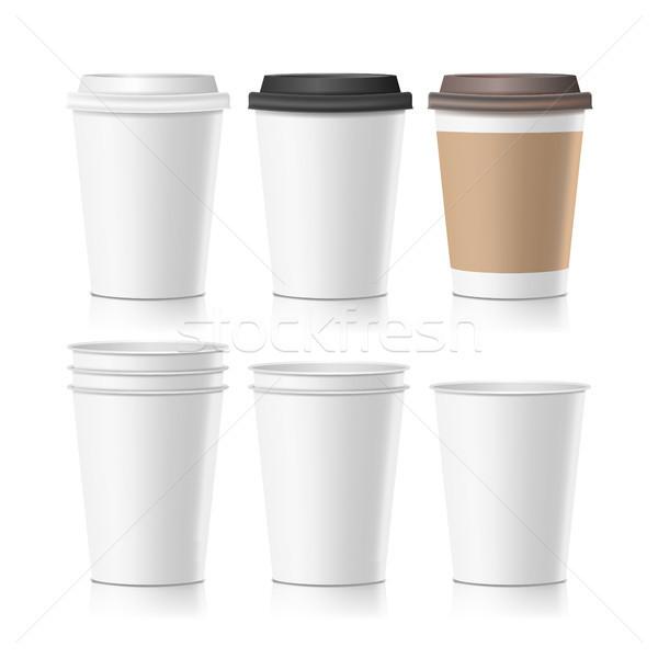 Szett kávé papír csészék vektor üres Stock fotó © pikepicture