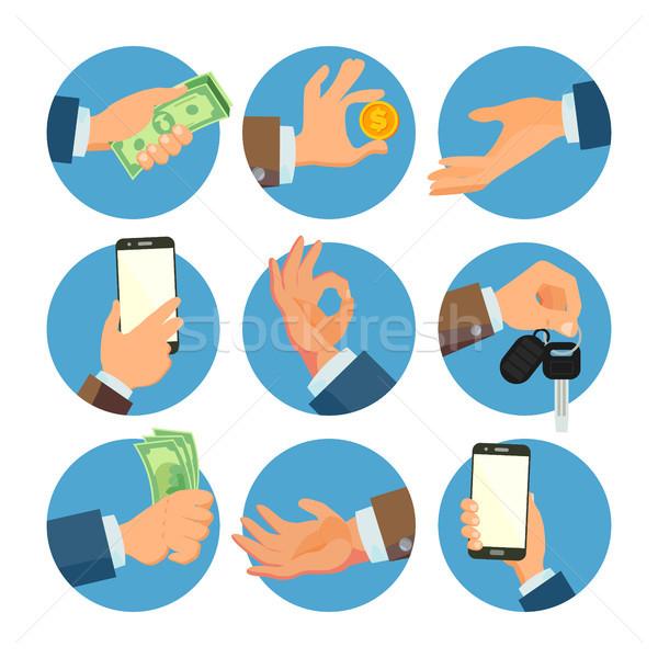 Zakenman handen ingesteld vector verkoper werknemer Stockfoto © pikepicture