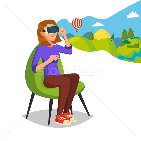 Virtual Reality Helmet, Glasses Vector. Innovation Play Device Glasses. Digital Entertainment Concep Stock photo © pikepicture
