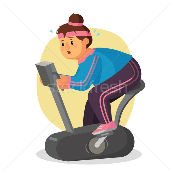 Fat Woman In Gym Vector. Female Running On Treadmill. Exercise Bike. Fitness Girl Training. Obese Wo Stock photo © pikepicture