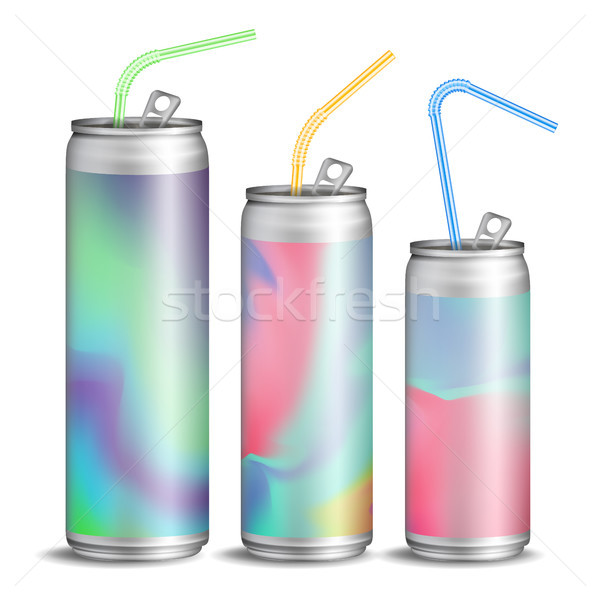 Realistic Metallic Can Vector. Soft Energy Drink. 3D Template Aluminium Cans. Colorful Drinking Stra Stock photo © pikepicture