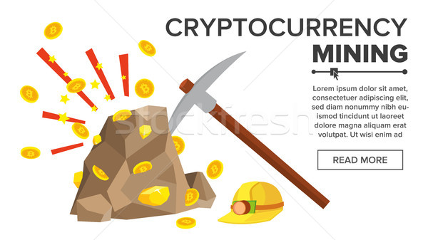 Rock With Gold Coins Vector. Bitcoin Cryptocurrency Concept. Mine, Pick, Helmet. Digging To Get Virt Stock photo © pikepicture
