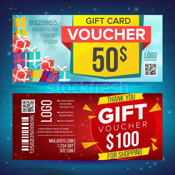 Voucher Vector. Horizontal Banner. Creative Holiday Cards Or Banners. End Of The Year Advertisement. Stock photo © pikepicture