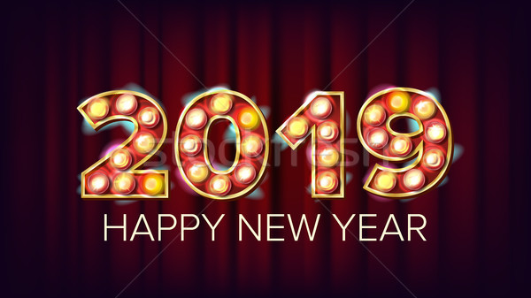 2019 Happy New Year Vector. Background Decoration. Greeting Card Design. 2019 Light Sign. 3D Electri Stock photo © pikepicture