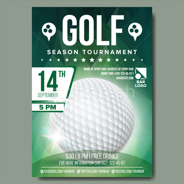 Stock photo: Golf Poster Vector. Banner Advertising. Sport Event Announcement. Ball. A4 Size. Announcement, Game,