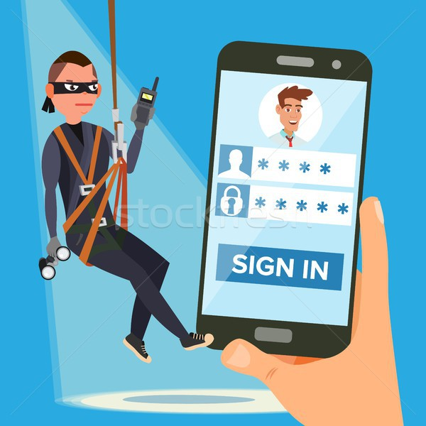 Hacker Stealing Personal Password Vector. Thief Character. Crack Personal Information. Fishing Attac Stock photo © pikepicture