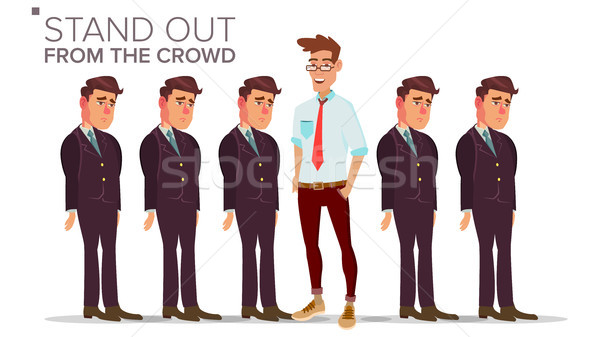 Man Stand Out From The Crowd Vector. Business Success. Good Idea, Independence, Leadership. Flat Ill Stock photo © pikepicture