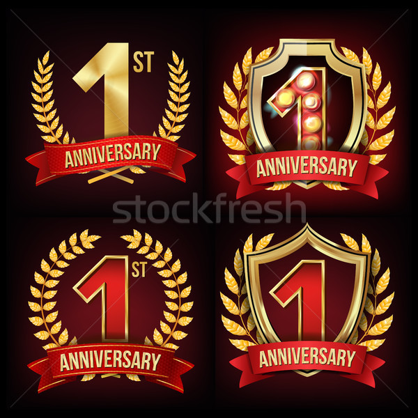 One Year Anniversary Banner Set Vector. 1 Age Sign. One, First Celebration. Shining Gold Sign. Numbe Stock photo © pikepicture