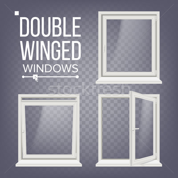 Plastic PVC Window Vector. Double-Winged. Opened And Closed. Front View. Home Window Design Element. Stock photo © pikepicture