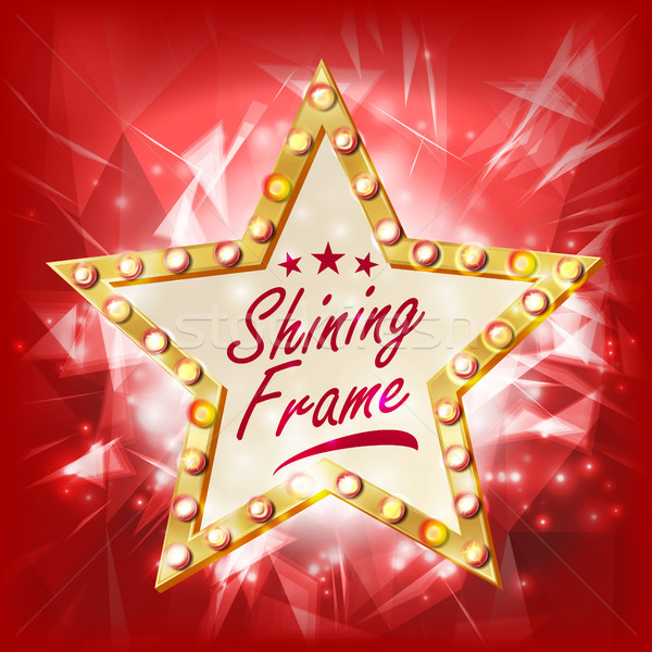 Gold Star Frame Vector. Beauty Diamond Star Emblem. Shine Lamp. Advertising Design Element. Decorati Stock photo © pikepicture