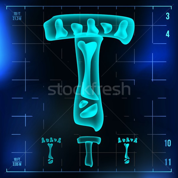 T Letter Vector. Capital Digit. Roentgen X-ray Font Light Sign. Medical Radiology Neon Scan Effect.  Stock photo © pikepicture