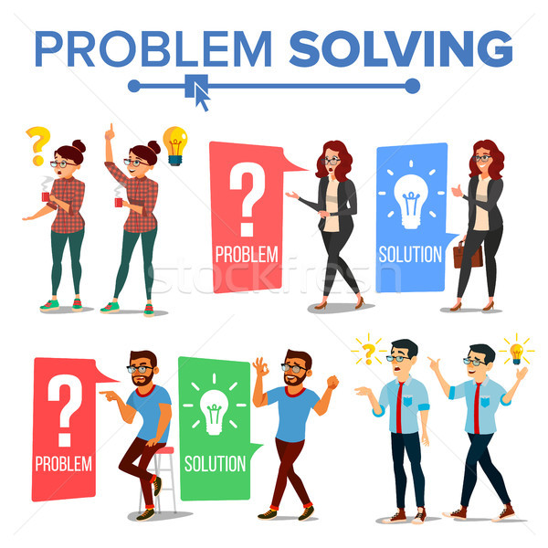 Problem Solving Concept Vector. Thinking Man And Woman. Question Mark, Light Bulb. Creative Project  Stock photo © pikepicture