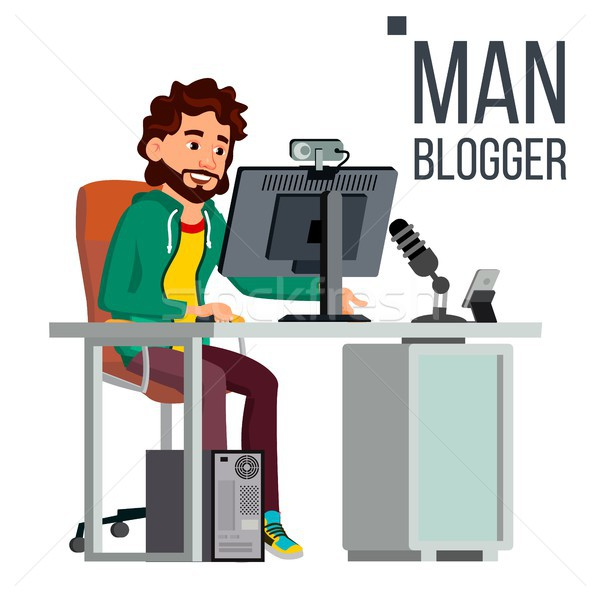 Stock photo: Man Blogger Vector. Video Concept. Professional Gamer. Personal Weblog Channel. Blogosphere Online.