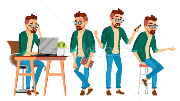 Stock photo: Business Man Character Vector. Hipster Working Man. Environment Process Creative Studio. Male Worker