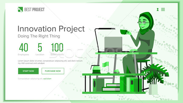 Website Design Template Vector. Business Project. Financial Management. Cartoon Team. Looking Opport Stock photo © pikepicture